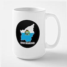 Flag Map of San Marino Large Mug