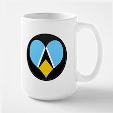 I love Saint Lucia Flag Large Mug