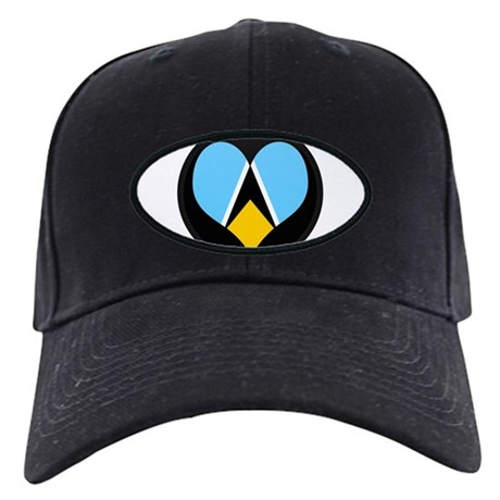I love Saint Lucia Flag Black Cap