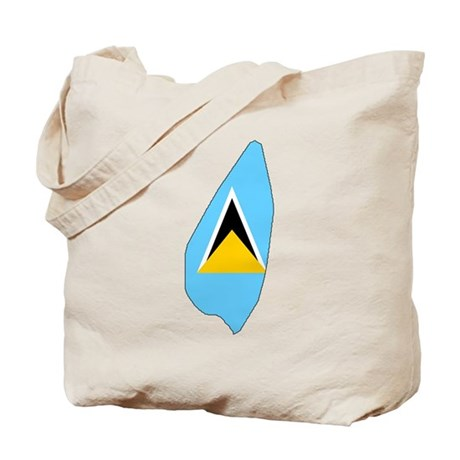 Saint Lucia Flag Map Tote Bag