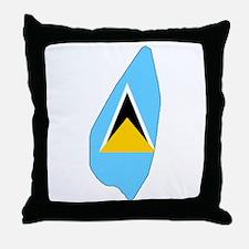 Saint Lucia Flag Map Throw Pillow