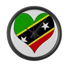 I Love saint kitts and nevis Large Wall Clock