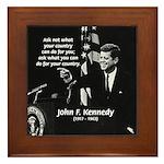 Famous Quote from JFK Framed Tile