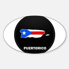 Flag Map of PUERTO RICO Oval Decal