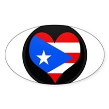 I love PUERTO RICO Flag Oval Stickers