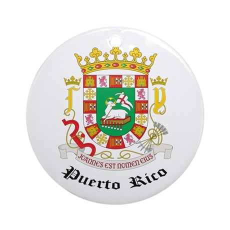 Puerto Rican Coat of Arms Sea Ornament (Round)