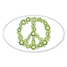 Green Recycle Peace Oval Sticker (10 pk)