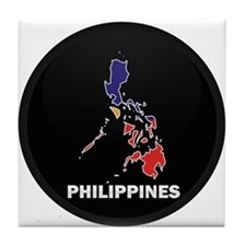 Flag Map of philippines Tile Coaster