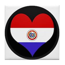 I love Paraguay Flag Tile Coaster