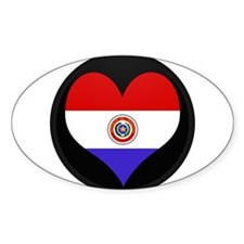 I love Paraguay Flag Oval Decal