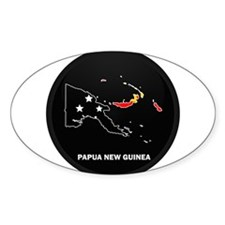 Flag Map of Papua New Guinea Oval Decal