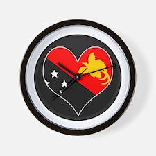 I love Papua New Guinea Flag Wall Clock