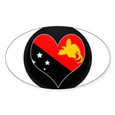 I love Papua New Guinea Flag Oval Decal