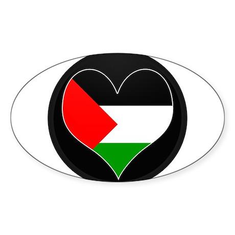 I love Palestine Flag Oval Sticker
