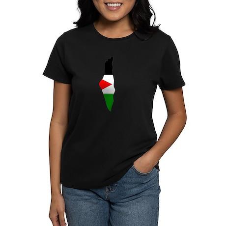 Palestine Flag Map Women's Dark T-Shirt