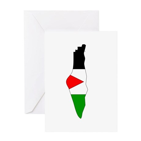 Palestine Flag Map Greeting Card