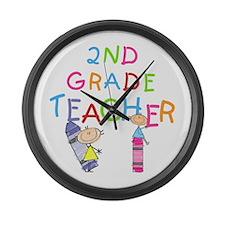 2nd Grade Teacher Large Wall Clock