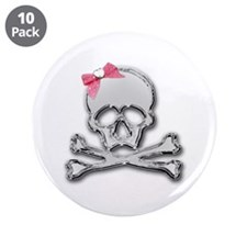 """Chrome skull with bow 3.5"""" Button (10 pack)"""