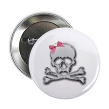 """Chrome skull with bow 2.25"""" Button (10 pack)"""