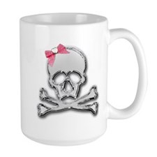 Chrome skull with bow Mug