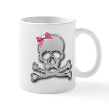 Chrome skull with bow Mug