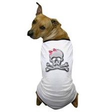 Chrome skull with bow Dog T-Shirt