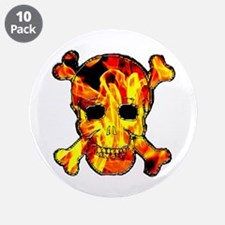 "Skull with fire 3.5"" Button (10 pack)"