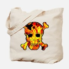 Skull with fire Tote Bag