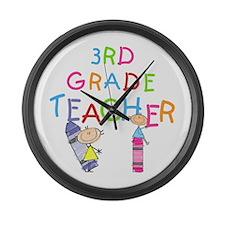 Crayons 3rd Grade Large Wall Clock
