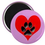 Dog Track Pawprint & Heart Magnet