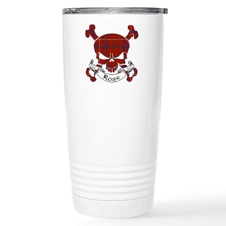 Rose Tartan Skull Stainless Steel Travel Mug