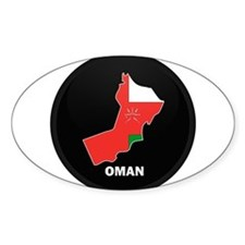 Flag Map of Oman Oval Decal