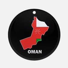 Flag Map of Oman Ornament (Round)