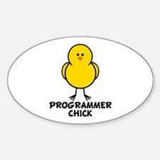 Programmer Chick Oval Decal
