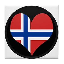 I love Norway Flag Tile Coaster