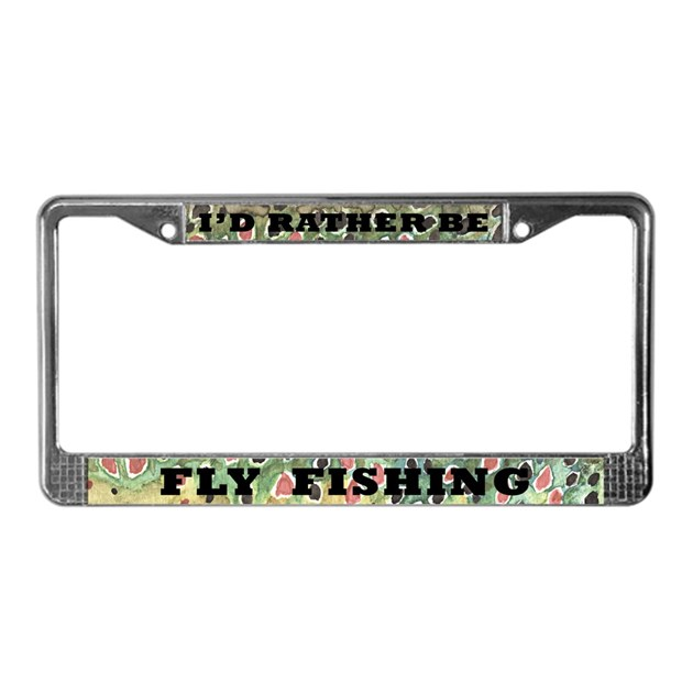 brown trout fly fishing license plate frame by troutwhiskers