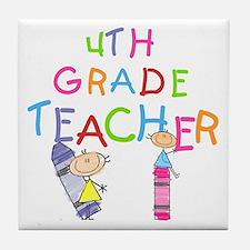 Crayons 4th Grade Tile Coaster