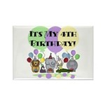 Zoo 4th Birthday Rectangle Magnet (10 pack)