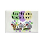 Zoo 5th Birthday Rectangle Magnet (10 pack)