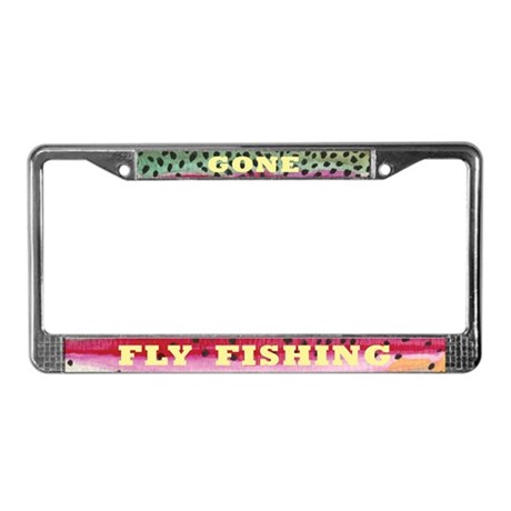 Rainbow trout fly fishing license plate frame by troutwhiskers for Florida temporary fishing license