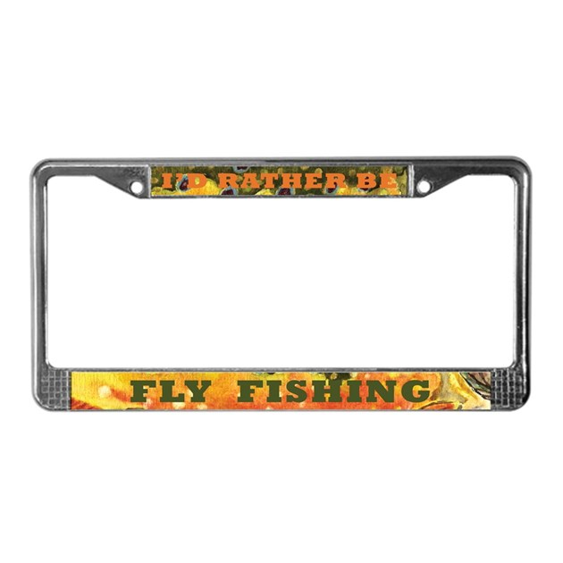 Brook trout fly fishing license plate frame by troutwhiskers for Fishing license plate