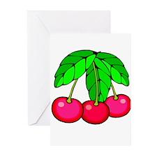 Three Ripe Red Cherries Greeting Cards (Pk of 10)