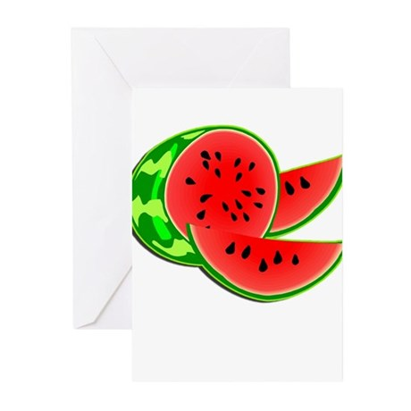 Juicy Red and Green Watermelon Greeting Cards (Pk