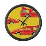 Red Pop Art Cars Large Wall Clock