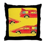 Red Pop Art Cars Throw Pillow