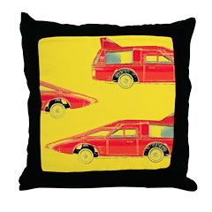 Red Pop Art Cars Throw Pillow