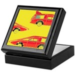 Red Pop Art Cars Keepsake Box