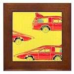 Red Pop Art Cars Framed Tile