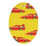 Red Pop Art Cars Oval Ornament