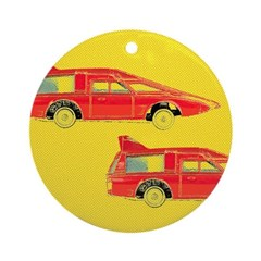 Red Pop Art Cars Ornament (Round)